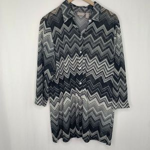 Chico's Blouse Size 3 XL 16 Chevron Top